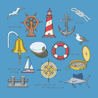 Símbolos marinhos ou náuticos do mar farol e navio roda ilustração conjunto marítimo de âncora de veleiro ou boia salva-vidas com gaivota no fundo