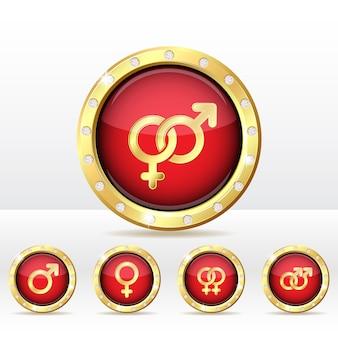 Símbolos masculinos e femininos.