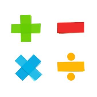 Símbolos matemáticos básicos mais menos multiplicar dividir