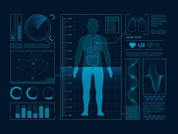 Símbolos médicos futuristas de varredura para interface web, visualização de humanos digitais verificar