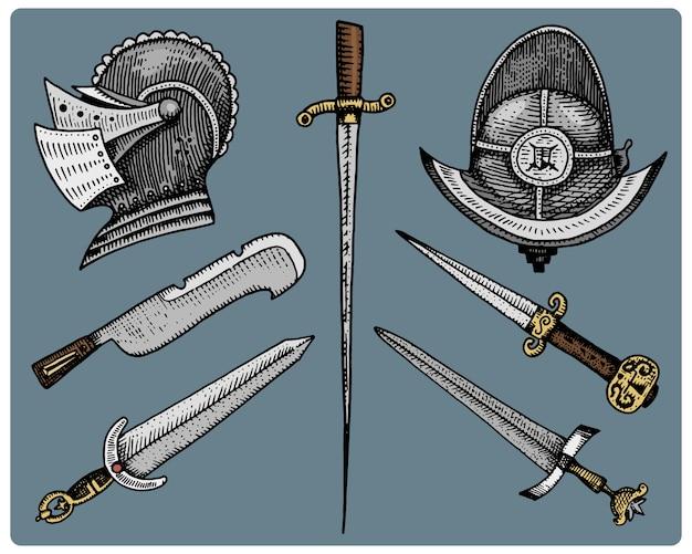 Símbolos medievais, capacete e espadas, faca vintage, gravada