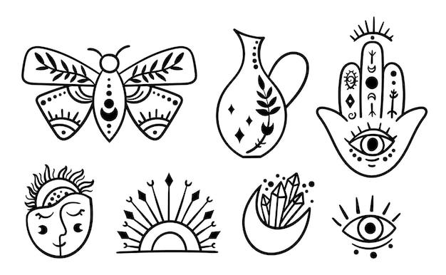 Símbolos místicos do boho, em ilustração de pacote em preto e branco