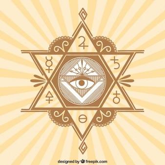 Símbolos místicos em um fundo sunburst