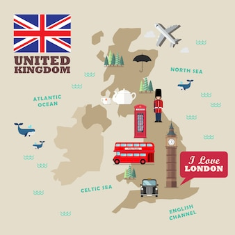 Símbolos nacionais do reino unido com mapa