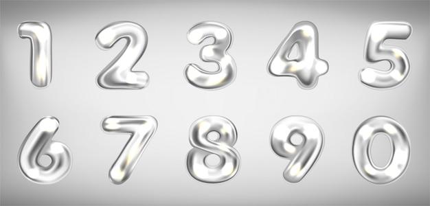 Símbolos numéricos brilhantes metálicos prateados