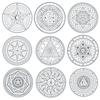 Símbolos ocultos, místicos, espirituais, esotéricos vetoriais