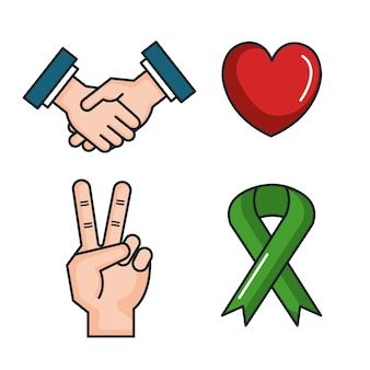 Símbolos paz para ícones do dia da paz internacional