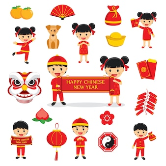Símbolos tradicionais de decoração de feliz ano novo chinês com elementos de personagens e ícones isolados no fundo branco