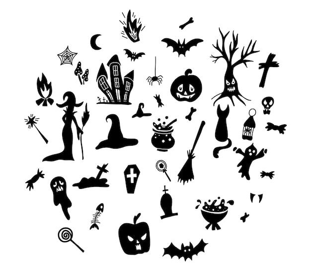 Símbolos tradicionais de halloween de mão desenhada.