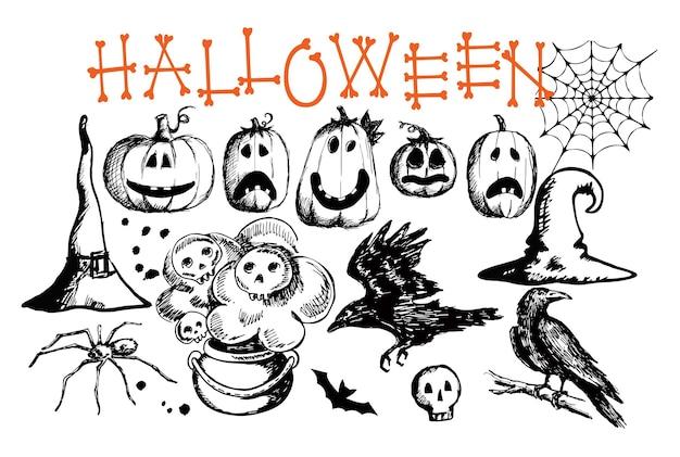 Símbolos tradicionais de halloween desenhados à mão ilustrações de estilo doodle entalhada em teia de aranha de abóbora