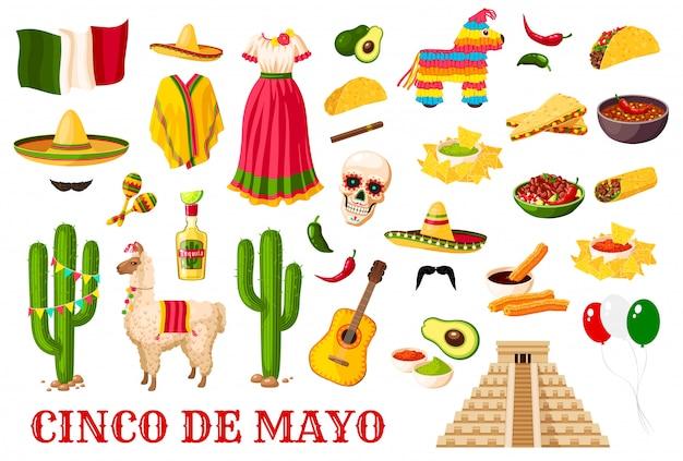 Símbolos tradicionais do feriado mexicano de cinco de mayo