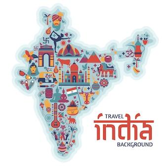 Símbolos tradicionais na forma de um mapa da índia