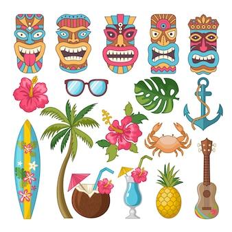Símbolos tribais da cultura havaiana e africana