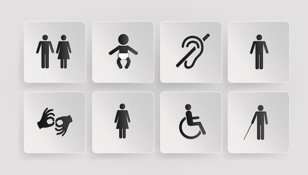 Símbolos vetoriais de deficientes físicos, banheiros, quarto do bebê e da mãe