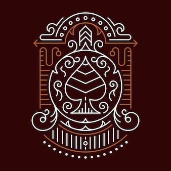 Simetria de ornamento decorativo de ás de espadas