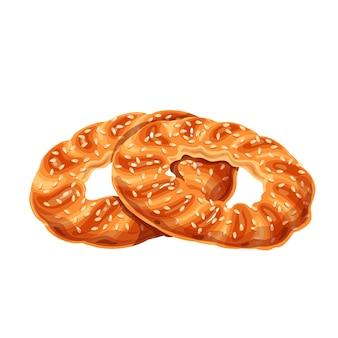Simit bagel tradicional turco, bagel turco de gergelim.