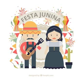 Simpático casal comemorando junina festa