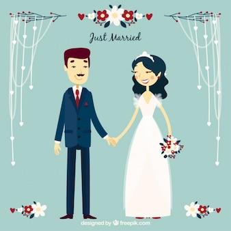 Simpático casal recém-casado