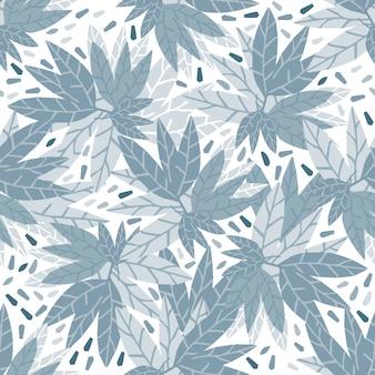 Simple blue leaves seamless pattern