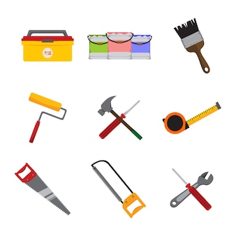 Simple home repair intrument tools vector illustration graphic