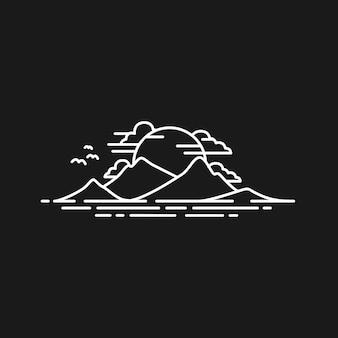 Simple line landscape everest himalaya vista à tarde logo design