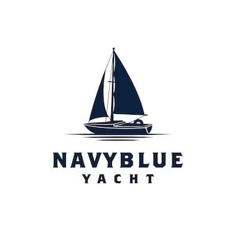 Simple sailing yacht silhouette inspiração de design de logotipo
