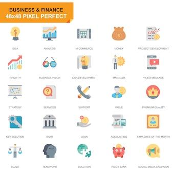 Simple set business e finanças ícones planas