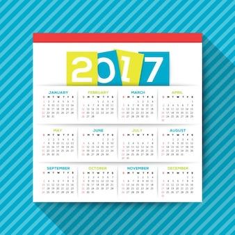 Simples 2017 modelo de calendário vector semana começa a partir de planta quadrada domingo