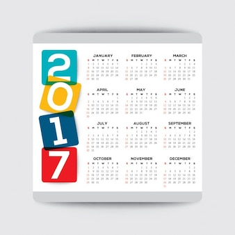 Simples 2017 semana começa molde do vetor do calendário a partir de domingo