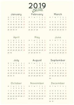 Simples calendário minimalista 2019 com folha verde