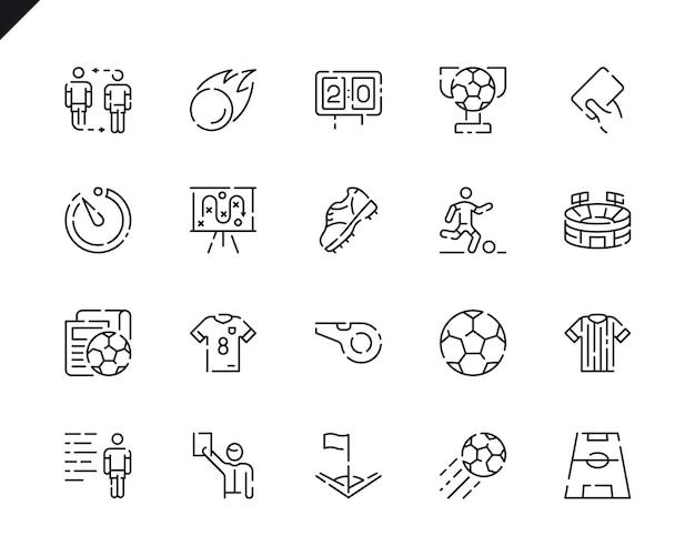 Simples conjunto de ícones de linha de futebol para o site e aplicativos móveis.
