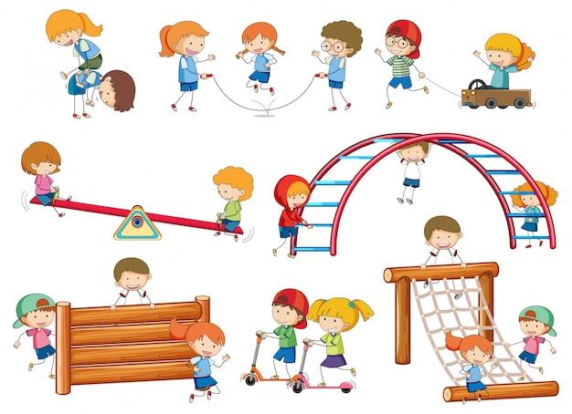 Simples crianças doodles jogando no equipamento de jogo