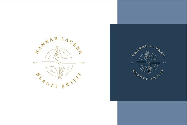 Simples de esboço de design de modelo de emblema de mãos femininas em círculos criados para salão de beleza para artistas e estilo de linha de anúncio de serviço
