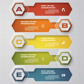 Simples e editável 5 passos processo gráfico para apresentação.