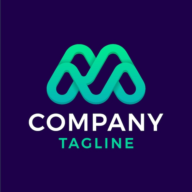 Simples e moderno arredondado monoline inicial letra m verde gradiente design de logotipo