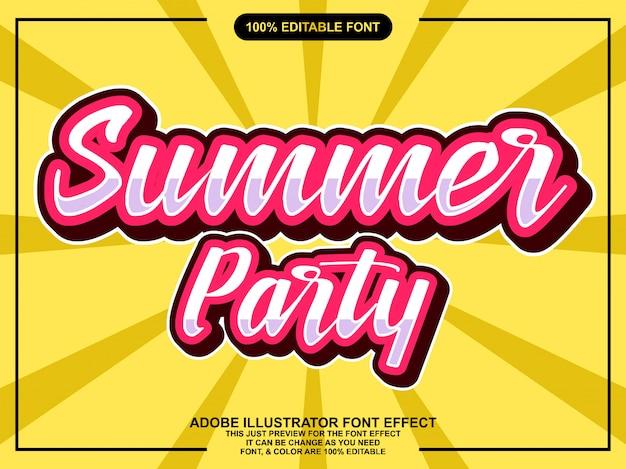 Simples efeito de fonte de adesivo de festa de verão vintage
