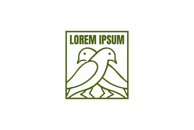 Simples minimalista dove pigeon canary bird nest line logo design vector