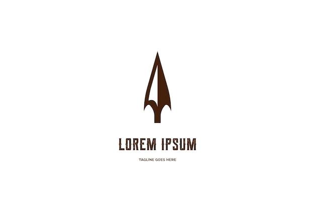 Simples minimalista vintage retrô rústico ponta de seta lança caça hipster design de logotipo em vetor