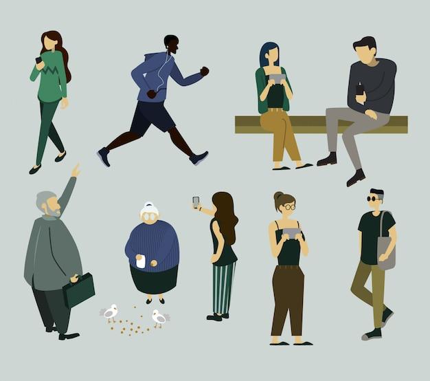Simples várias pessoas definir fazendo atividades