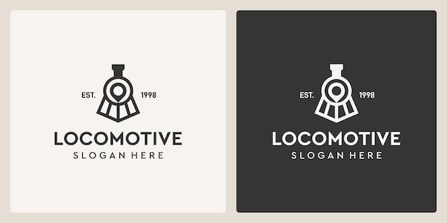 Simples vintage velho trem locomotiva e modelo de design de logotipo de localização.