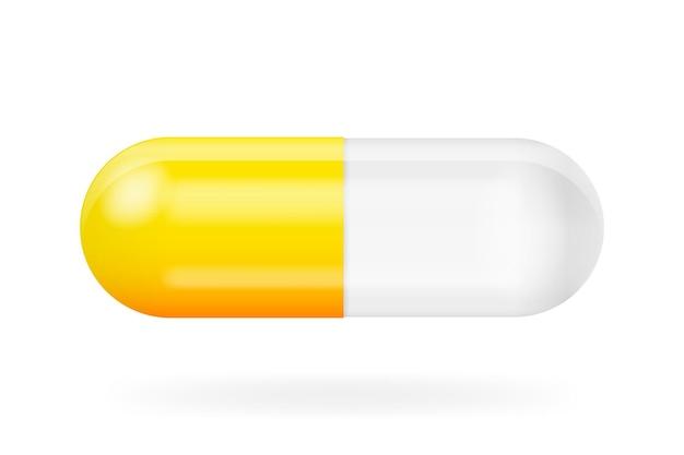 Simulação da pílula 3d no pano de fundo branco vetor 3d isolado fundo branco objeto 3d realista