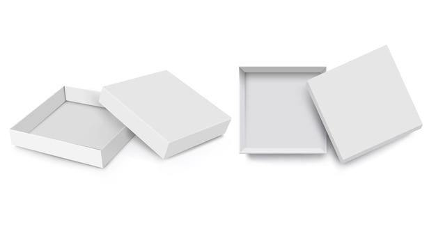 Simulação de caixa branca, estilo 3d, conjunto de vetores. caixas quadradas de pacote aberto realista em branco isolado com tampa aberta, modelo de maquete de caixa de papel vazio. ilustração vetorial