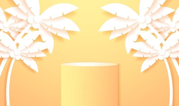 Simulação de fundo de produto em pódio redondo amarelo e laranja brilhante para exibição e evento de verão