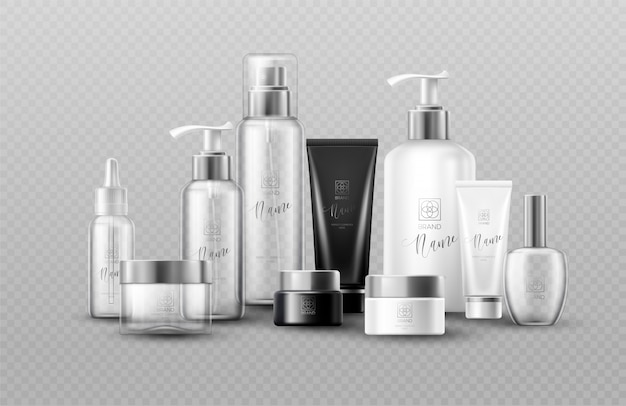 Simulação de garrafa cosmética definir pacotes em fundo cinza. efeito de transparência real.