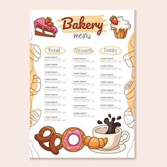 Simulação de modelo de menu principal de padaria para café e restaurante. projeto para impressão