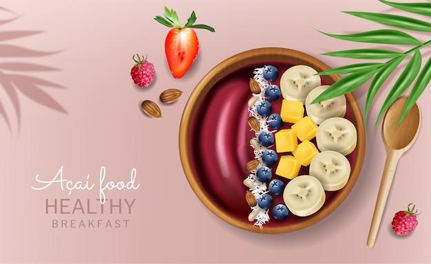 Simulação realista de vetor de tigela de açaí. frutas frescas. páginas do menu de colocação de produto