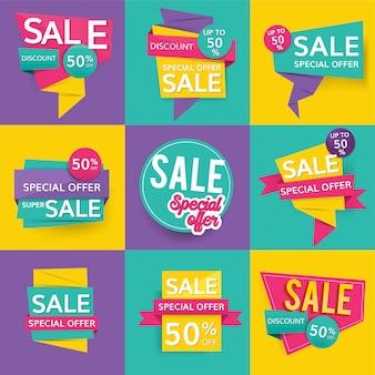 Sinais coloridos de venda