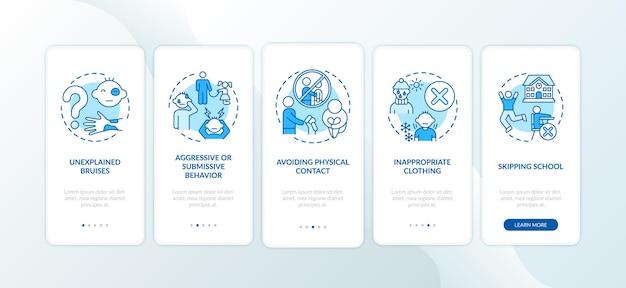 Sinais de abuso infantil e negligência na tela azul da página do aplicativo móvel com conceitos