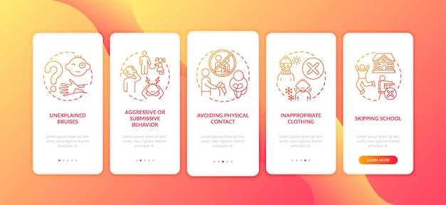 Sinais de abuso infantil e negligência na tela vermelha da página do aplicativo móvel com conceitos