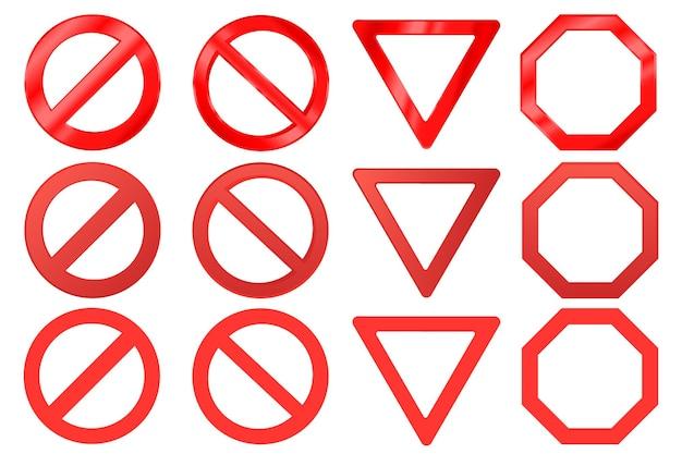 Sinais de alerta vermelhos realistas do vetor conjunto de proibição de tráfego rodoviário e sinal de proibido
